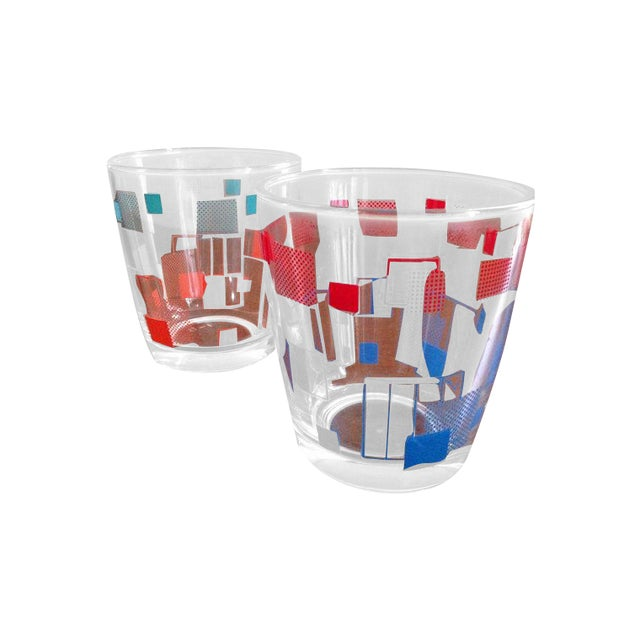 Retro Grid Cocktail Glasses - A Pair - Image 1 of 4