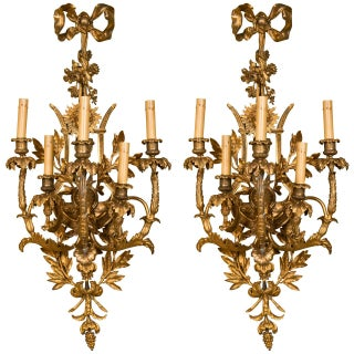 French Belle Epoque Style Wall Sconces - A Pair