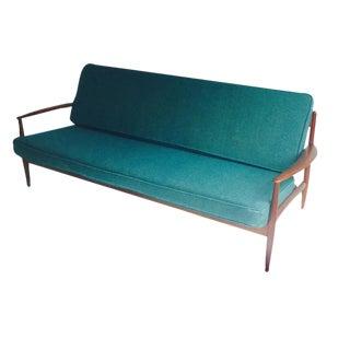Mid-Century Modern Danish Teak Sofa Turquoise Cushions