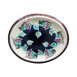 Antique 19th C. Majolica Gothic Grapevine Platter