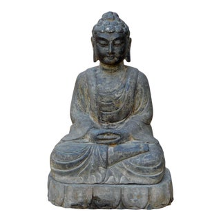 Chinese Sitting Buddha Amitabha Shakyamuni Stone Statue