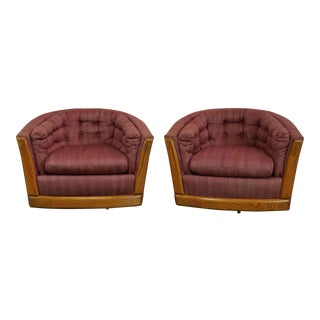 Swivel Barrel Chairs with Oak Trim - A Pair