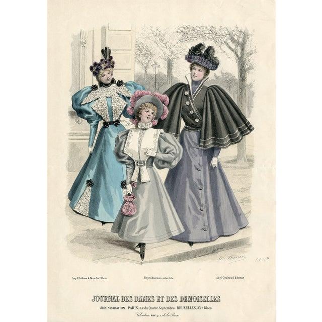 Vintage French Fashion Print 1888 - Image 1 of 2