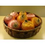 Image of Vintage Spun Satin Ornaments in Antique Baskets