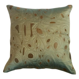 Pale Green & Gold Silk Pillow Cover