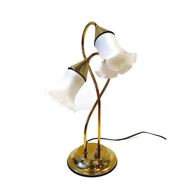 Vintage Brass Lotus Double Light Lamp - Image 2 of 7