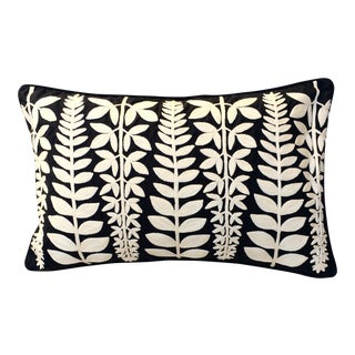 Mexican Black & Ivory Embroidered Pillows - A Pair