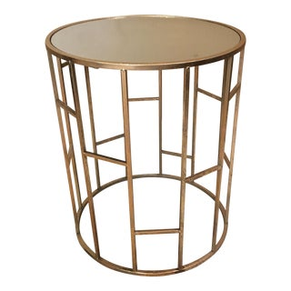 Gold Metal Mirror Top End Table