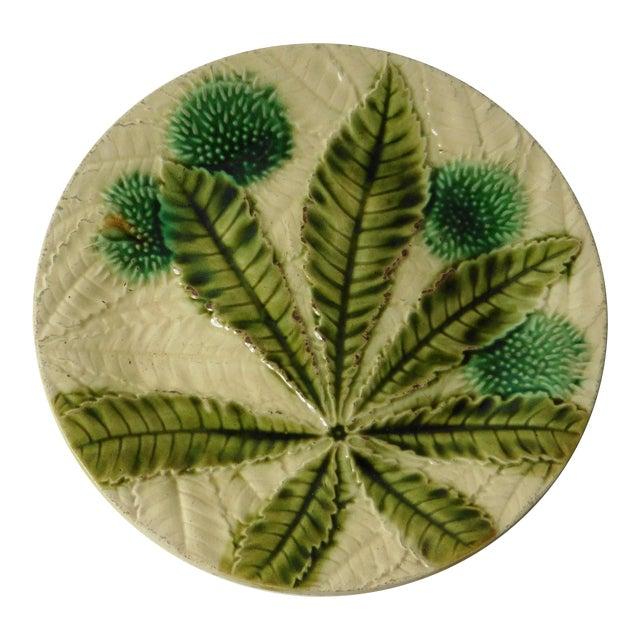 19th Majolica Chesnut Plate - Image 1 of 3