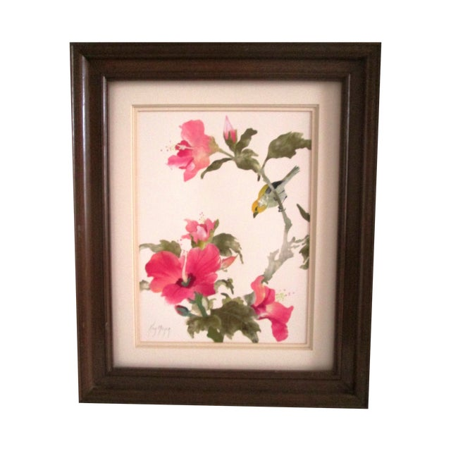 Yellow Sparrow & Pink Hibiscus Watercolor - Image 1 of 7