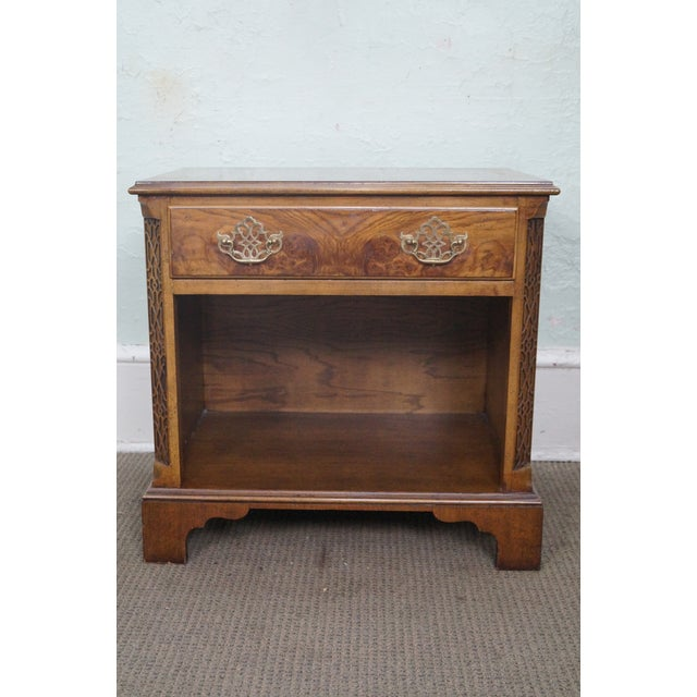 Baker Burl Walnut Chippendale Style Nightstands - A Pair - Image 5 of 10