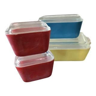 Pyrex Primary Color Refrigerator Dishes - 8 Pcs