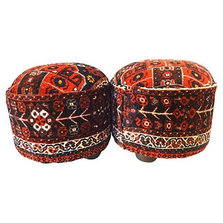 Antique Persian Rug Ottomans - A Pair