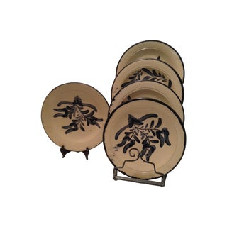 Asian Design Pottery Dinner Plates - Set of 5