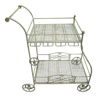 Vintage Style Sage Green Iron Rolling Bar Cart