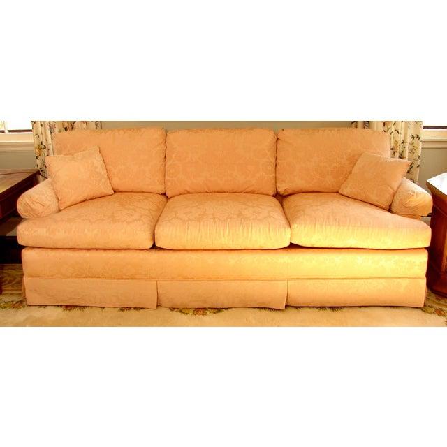 Vintage Baker Furniture Pink Damask 3 Seat Down Filled Sofa Chairish