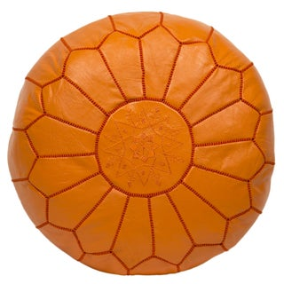 Embroidered Leather Pouf in Orange