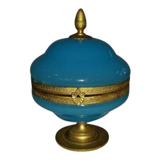 Blue Aquamarine 19th Century Style French Lady's Powder Box