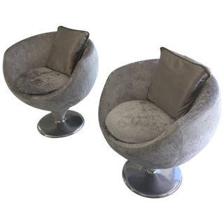 Vintage 1970s Small Round Gray Chairs - A Pair