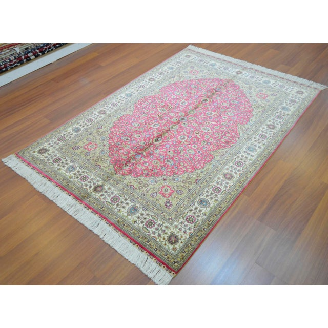 Hand Knotted Turkish Silk Rug - 4′ × 5′10″ - Image 3 of 9
