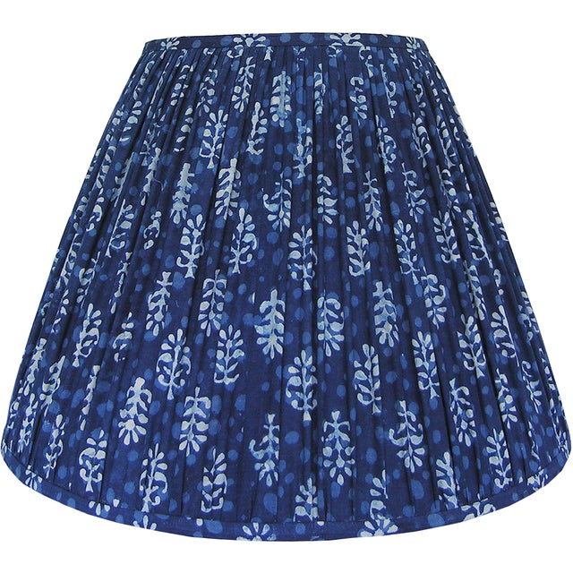 New, Made to Order, Indigo Blue Block Print Fabric, Small Pleated/Gathered Lamp Shade Shade - Image 2 of 4