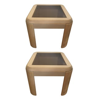 Tinted Glass Top Side Tables - A Pair