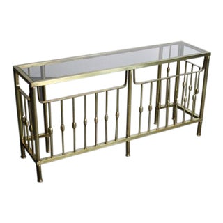 Glass Top Brass Entry Table