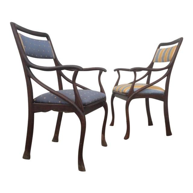 Art Nouveau Style Vintage Chairs - A Pair - Image 1 of 6