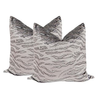 "22"" Italian Silk Velvet Pillows in Serengeti - a Pair"
