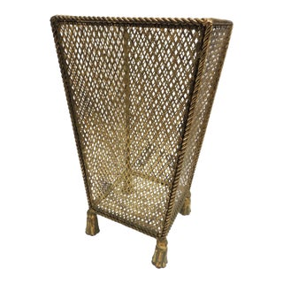 Vintage Hollywood Regency Gold Leaf Umbrella Stand