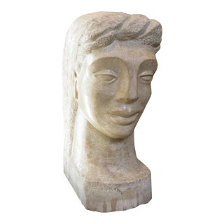 "Art Deco Marble Bust Signed ""MT"""