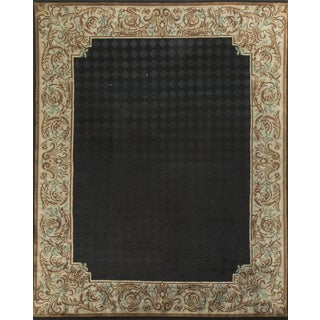 "Black & Tan Hand-Knotted Wool Rug - 8'1"" x 9'11"""