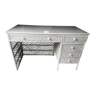 1950s White Cross Hatch Desk & Wicker Chair
