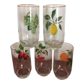Mid Century Modern Fruit Design Bar Cart Drinking Glasses