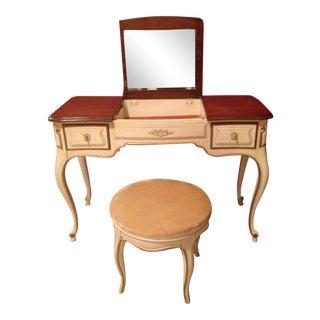 Antique Mirrored Vanity & Stool