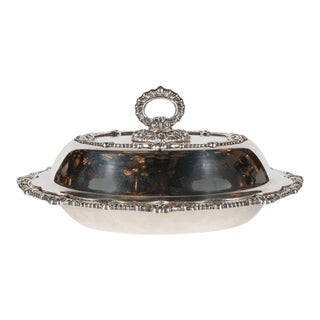 Neocolonialist Revival Silver Plated Tureen W/ Scalloped Edges & Baroque Detail