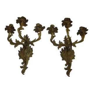 Pair of French Roccoco Bronze Three Arm Sconces