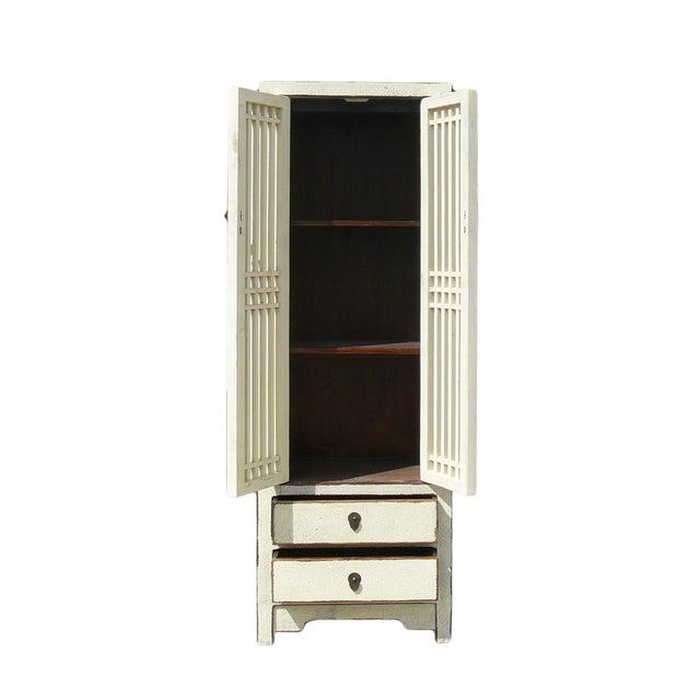 Rustic White Tall Narrow Cabinet Shutter Doors Chairish