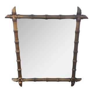 Hollywood Regency Style Gold Faux Bamboo Mirror
