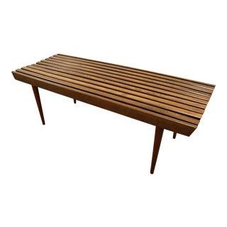 Mid-Century Danish Modern Walnut Slat Bench Coffee Table