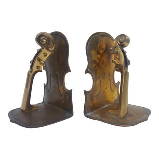 Solid Brass Violins Bookends - a Pair