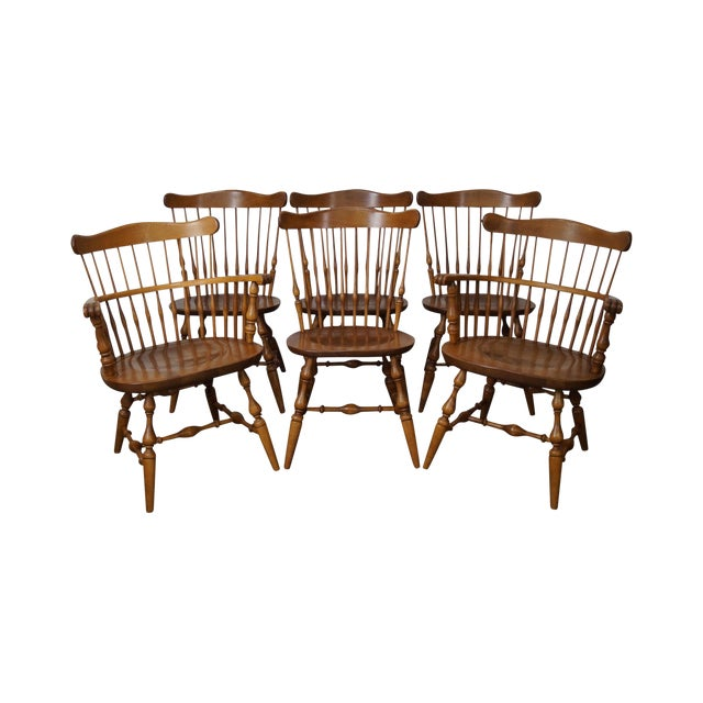 Ethan Allen Nutmeg Solid Maple Windsor Style Dining Chairs - Set Of 6