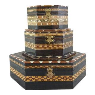 Moorish Inlay Decorative Boxes - Set of 3