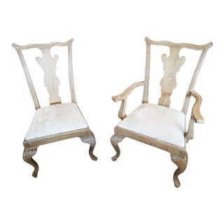 Vintage Wood Arm & Side Chair - a Pair