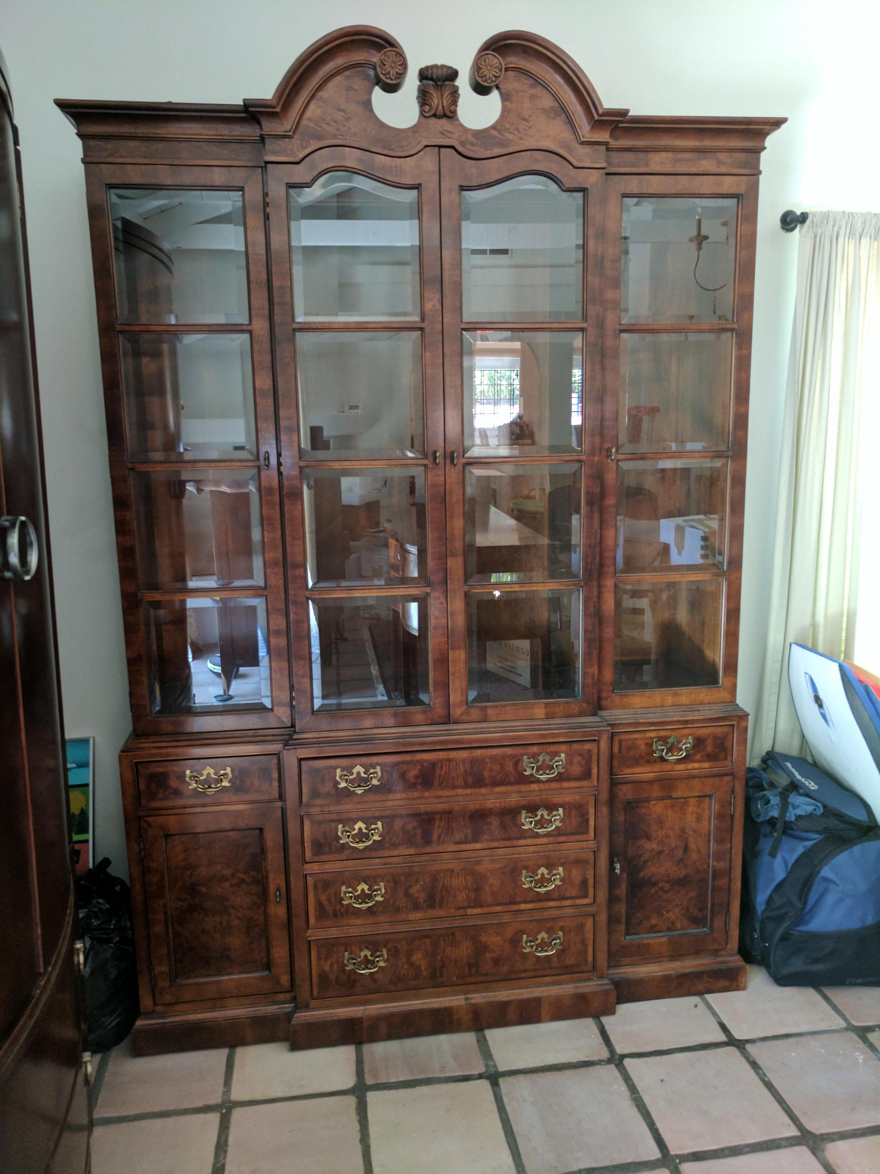 henredon china cabinet breakfront mahogany | chairish