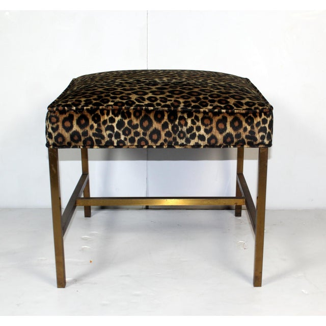 Vintage 1970s Brass Base & Leopard Seat Bench - Image 2 of 4