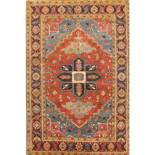 Image of Heriz Hand-Knotted Rust Tone Wool Rug - 6' x 10'