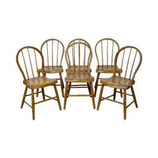 Antique Set of 6 Early 19th Century Painted Childs Youth-Size Windsor Dining Chairs