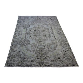 "Turkish Overdyed Gray Handmade Rug - 5'7"" X 9'9"""