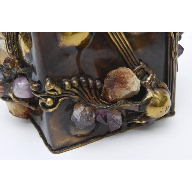 Brutalist Sculptural Mixed Metal and Amethyst, Quartz Tissue Box/ SAT.SALE - Image 9 of 10
